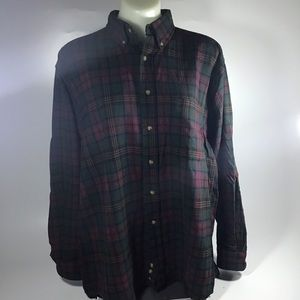 Red green 100% wool Pendleton flannel  button-down